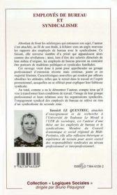 Employes De Bureau Et Syndicalisme - 4ème de couverture - Format classique