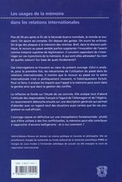 Usages De La Memoire Relations Internationales (Les) - 4ème de couverture - Format classique