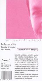 Profession artiste ; extension du domaine de la création - 4ème de couverture - Format classique