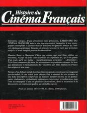 Histoire du cinema francais 1935 1939 - 4ème de couverture - Format classique