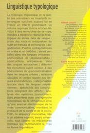 Linguistique Typologique - 4ème de couverture - Format classique