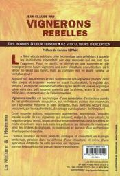Vignerons rebelles ; les hommes et leurs terroirs - 4ème de couverture - Format classique