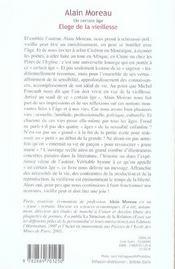 Un Certain Age ; Eloge De La Vieillesse - 4ème de couverture - Format classique
