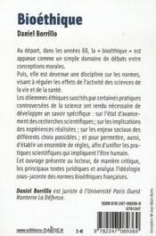 Bioéthique (édition 2011) - 4ème de couverture - Format classique