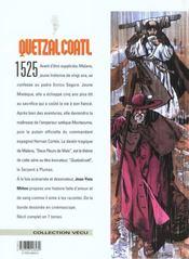Quetzalcoatl t.1 ; deux fleurs de mais - 4ème de couverture - Format classique