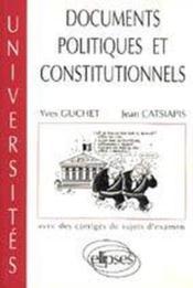 Documents Politiques Et Constitutionnels Avec Des Corriges De Sujets D'Examen - Couverture - Format classique