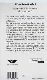 Reponds-Moi Vite ; Lettres D'Adolescents - 4ème de couverture - Format classique