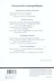 Tumultes N24 Citoyennetes Cosmopolitiques - 4ème de couverture - Format classique
