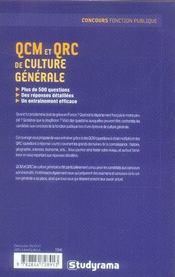Qcm Et Qrc De Culture Generale - 4ème de couverture - Format classique