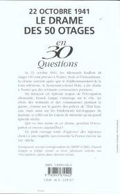 22 octobre 1941 ; le drame des 50 otages - 4ème de couverture - Format classique