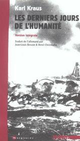 Derniers Jours De L'Humanite-Version Integrale - Intérieur - Format classique