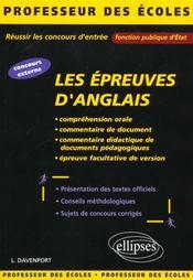 Les Epreuves D'Anglais Reussir Les Concours D'Entree Fonction Publique D'Etat Concours Externe - Intérieur - Format classique