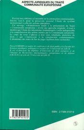 Aspects Juridiques Du Traite Communaute Europeenne - 4ème de couverture - Format classique