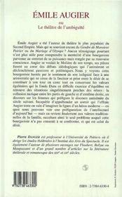 Emile Augier Ou Le Theatre De L'Ambiguite - 4ème de couverture - Format classique