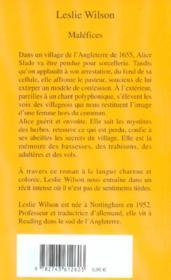 Malefices - 4ème de couverture - Format classique