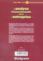 L'analyse transactionnelle dans l'entreprise - 4ème de couverture - Format classique