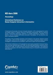 Hci - aero 2006 ; proceedings of the international conference on human-computer interaction in aeronautics - 4ème de couverture - Format classique