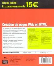 Creation De Page Web En Html - 4ème de couverture - Format classique
