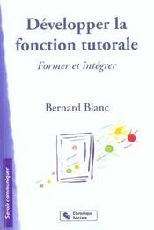 Developper La Fonction Tutorale - Intérieur - Format classique