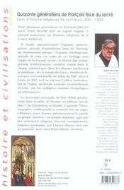 Quarante Generations De Francais Face Au Sacre. Essai D'Histoire Religieuse De La France, 500-1500 - 4ème de couverture - Format classique