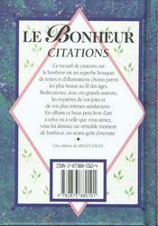 Le Bonheur Citations - 4ème de couverture - Format classique