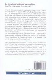La liturgie en quête de sa musique - 4ème de couverture - Format classique