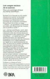 Les usages sociaux de la science ; pour une sociologie clinique du champ scientifique - 4ème de couverture - Format classique
