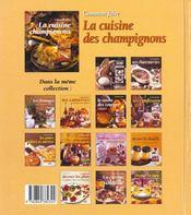 La cuisine des champignons - 4ème de couverture - Format classique