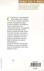 Paris gourmandises - 4ème de couverture - Format classique