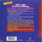 Qcm Et Qcr Finances Publiques (3e édition) - 4ème de couverture - Format classique