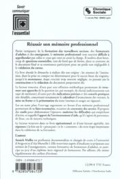 Reussir Son Memoire Professionnel ; 2e Edition - 4ème de couverture - Format classique