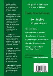 Environmental issues ; prépa à l'oral d'anglais - 4ème de couverture - Format classique