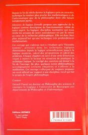 Elements de logique formelle - 4ème de couverture - Format classique