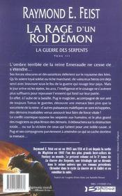 La guerre des serpents t.3 ; la rage d'un roi démon - 4ème de couverture - Format classique