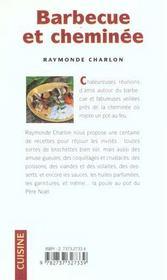 Barbecue et cheminée ; 100 recettes - 4ème de couverture - Format classique