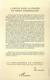 L'amour dans la pensée de Søren Kierkegaard ; pseudonymie et polyonymie - 4ème de couverture - Format classique