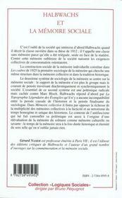 Halbwachs Et La Memoire Sociale - 4ème de couverture - Format classique