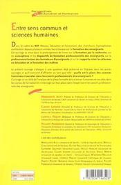 Entre Sens Commun Et Sciences Humaines - 4ème de couverture - Format classique