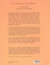 Les monstres du sublime victor hugo le genie et la montagne - 4ème de couverture - Format classique