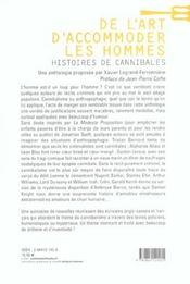 De l'art d'accomoder les hommes ; histoires de cannibales - 4ème de couverture - Format classique