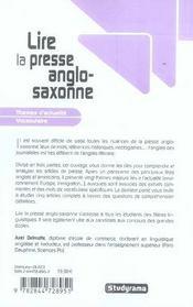 Lire la presse anglo-saxonne - 4ème de couverture - Format classique