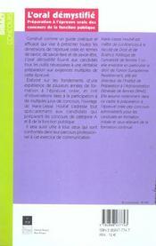 Oral demystifie - 4ème de couverture - Format classique