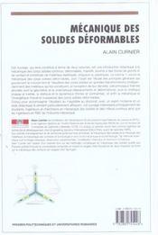 Mecanique Des Solides Deformables. Cinematique, Dynamique, Energetique - 4ème de couverture - Format classique