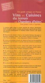 Vins et cuisines du terroir en chambre d'hôtes (édition 2006/2007) - 4ème de couverture - Format classique