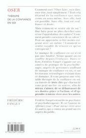 Oser ; Therapie De La Confiance En Soi - 4ème de couverture - Format classique