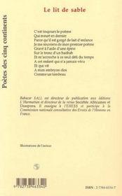 Le Lit De Sable - 4ème de couverture - Format classique