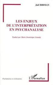 Les enjeux de l'interprétation en psychanalyse - Couverture - Format classique