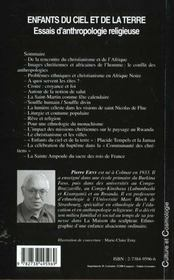 Enfants Du Ciel Et De La Terre ; Essais D'Anthropologie Religieuse - 4ème de couverture - Format classique