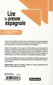 Lire la presse espagnole - 4ème de couverture - Format classique