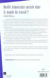 Quelle Democratie Sociale Dans Le Monde Du Travail - 4ème de couverture - Format classique